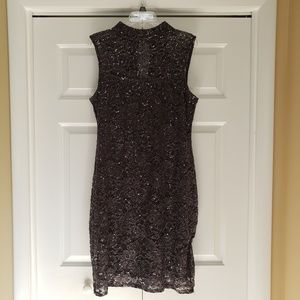 Marina Midi Black Gray Lace Sequin Dress Size 16